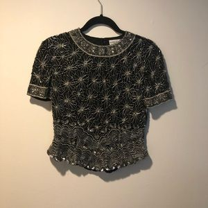 Papell Boutique Evening S black sequins top floral